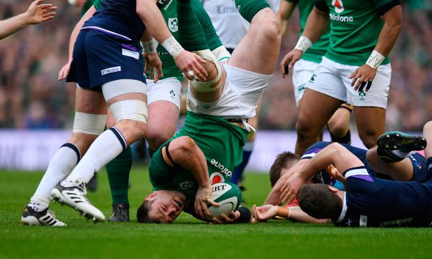 Cian Healy in action during the victory against Scotland. Photo: Reuters/Clodagh Kilcoyne