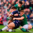 Jacob Stockdale, left, and Garry Ringrose combine to smother the threat of Scotland's Huw Jones on Saturday. Photo: Sportsfile