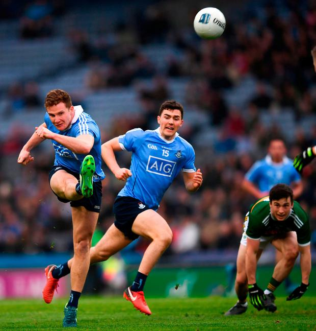 KICKING ACTION: Dublin's Ciarán Kilkenny goes for a score during yesterday's clash against Kerry. Photo: SPORTSFILE