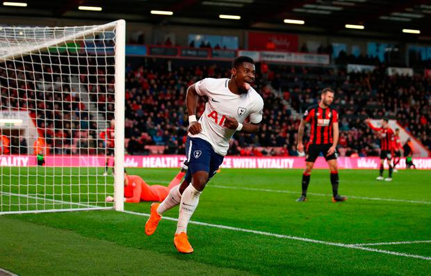Tottenham Hotspur's Serge Aurier celebrates scoring his side's fourth goal of the game. Photo credit: John Walton/PA Wire