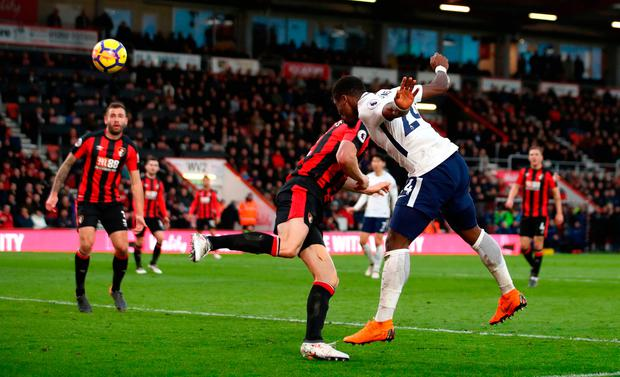 Tottenham Hotspur's Serge Aurier scores his side's fourth goal of the game. Photo credit: John Walton/PA Wire