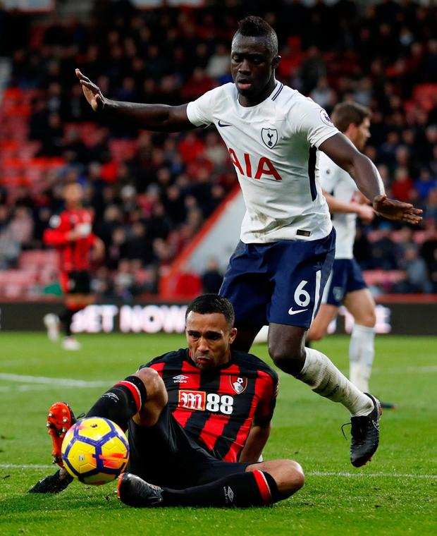 Bournemouth's Callum Wilson in action with Tottenham's Davinson Sanchez. Photo: Reuters/Matthew Childs