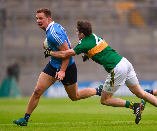 Ciaran Kilkenny of Dublin in action against Ronan Shanahan of Kerry. Photo: Sportsfile