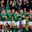 Ireland players and supporters celebrate after Sean Cronin scored their side's fourth try