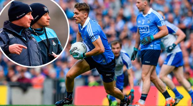 Mick Fitzsimons and (inset) Jim Gavin and Jason Sherlock watch on against Kerry