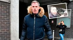 Jamie Carragher arrives in London for talks with Sky and (inset) he spits at Manchester United fans
