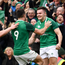 10 March 2018; Jacob Stockdale of Ireland celebrates with Conor Murray, 9, and Dan Leavy, 7, after scoring his side's second try during the NatWest Six Nations Rugby Championship match between Ireland and Scotland at the Aviva Stadium in Dublin. Photo by Ramsey Cardy/Sportsfile