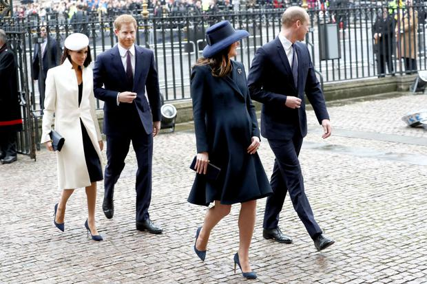 LONDON, ENGLAND - MARCH 12: (L-R) Meghan Markle, Prince Harry, Catherine, Duchess of Cambridge and Prince William, Duke of Cambridge attend the 2018 Commonwealth Day service at Westminster Abbey on March 12, 2018 in London, England. (Photo by Chris Jackson/Chris Jackson/Getty Images)
