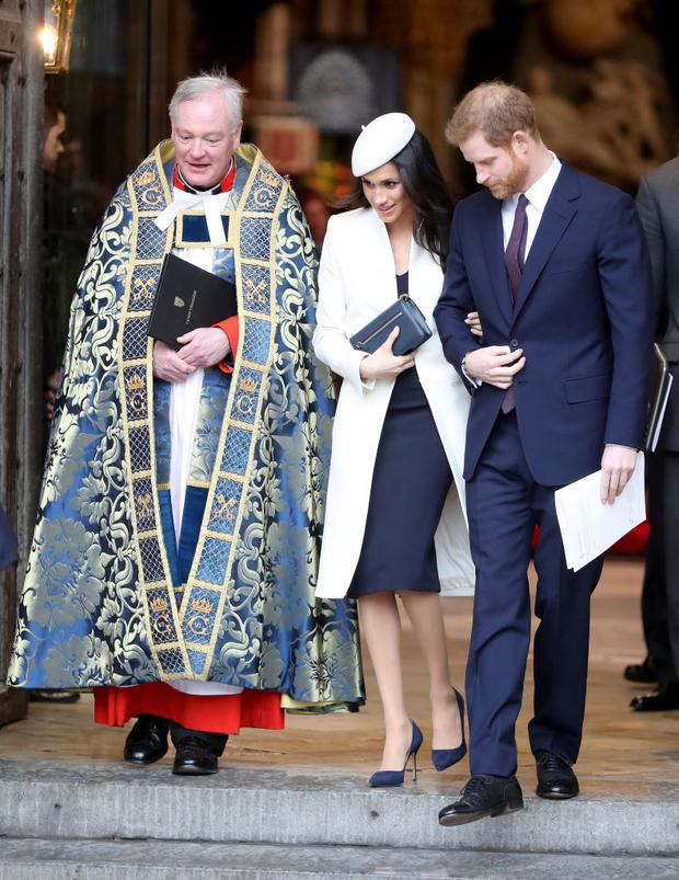 LONDON, ENGLAND - MARCH 12: Meghan Markle (C) and Prince Harry (R) depart from the 2018 Commonwealth Day service at Westminster Abbey on March 12, 2018 in London, England. (Photo by Chris Jackson/Chris Jackson/Getty Images)