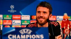 Michael Carrick speaking at yesterday's press conference. Photo: AFP/Getty Images