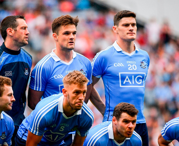 Diarmuid Connolly lines up prior to Dublin's All-Ireland semi-final against Tyrone last year. Photo: Ramsey Cardy/Sportsfile