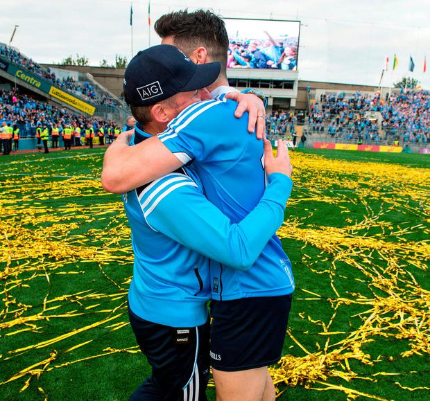 Diarmuid Connolly embracing manager Jim Gavin after last year's All-Ireland final. Photo: Ray McManus/Sportsfile