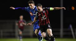 Derek Pender of Bohemians in action against Derek Daly of Waterford during the SSE Airtricity League Premier Division match between Waterford and Bohemians at Waterford Regional Sports Centre in Waterford. Photo by Harry Murphy/Sportsfile