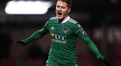 Kieran Sadlier of Cork City celebrates after scoring his side's first goal during the SSE Airtricity League Premier Division match between Cork City and Shamrock Rovers at Turner's Cross in Cork. Photo by Stephen McCarthy/Sportsfile