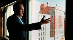 Taoiseach Leo Varadkar looks out of the 7th floor window of the Dallas County Administration Building in Dealey Plaza, downtown Dallas, a floor above primary crime scene for the 1963 JFK shooting after evidence of a sniper was found on the sixth floor, known then as the Texas School Book Depository, as part of his visit to the United States. Niall Carson/PA Wire