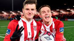 Ronan Hale, left, and Rory Hale of Derry City celebrate after the SSE Airtricity League Premier Division match between Derry City and Limerick at the Brandywell Stadium in Derry. Photo: Oliver McVeigh/Sportsfile