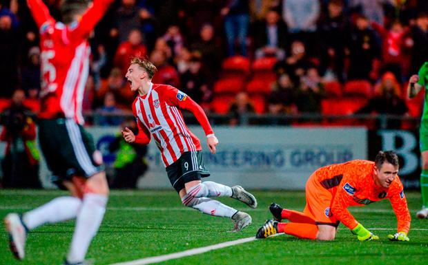 Ronan Curtis celebrates scoring Derry City's third goal. Photo: Oliver McVeigh/Sportsfile