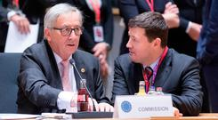 Jean-Claude Juncker, left, with Martin Selmayr Photo by Thierry Monasse/Getty Images