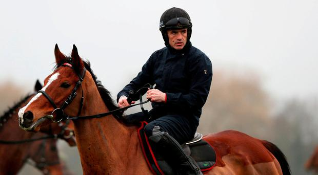 Jockey Ruby Walsh with Faugheen during a preview day ahead of the 2018 Cheltenham Festival meeting
