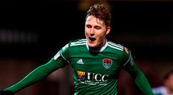 Cork City's Kieran Sadlier celebrates after scoring his side's first goal. Photo: Stephen McCarthy/Sportsfile