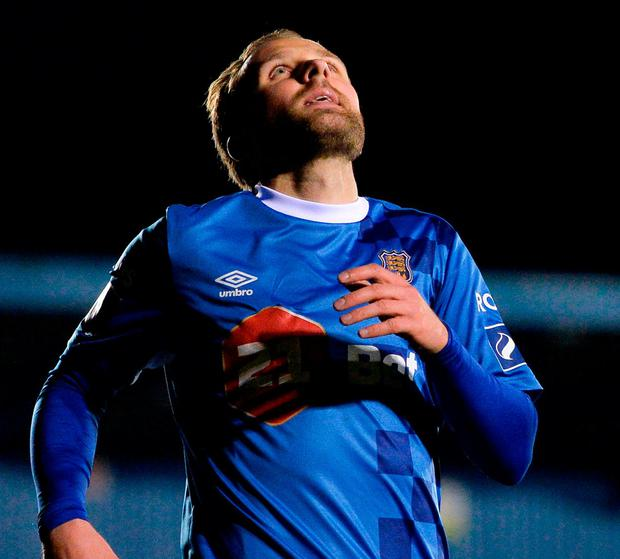 Waterford's Sander Puri celebrates after scoring. Photo: Harry Murphy/Sportsfile