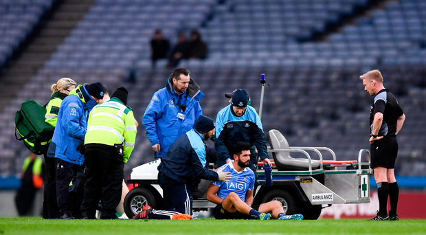 11 March 2018; Cian O'Sullivan of Dublin after picking up an injury during the Allianz Football League Division 1 Round 5 match between Dublin and Kerry at Croke Park in Dublin. Photo by Stephen McCarthy/Sportsfile