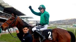 Ruby Walsh celebrates on Footpad after winning the Racing Post Arkle Challenge Trophy Novices' Chase last year Action Images via Reuters/Matthew Childs