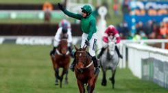 Footpad ridden by Ruby Walsh celebrates winning the 14:10 Racing Post Arkle Challenge Trophy Novices' Chase Action Images via Reuters/Matthew Childs