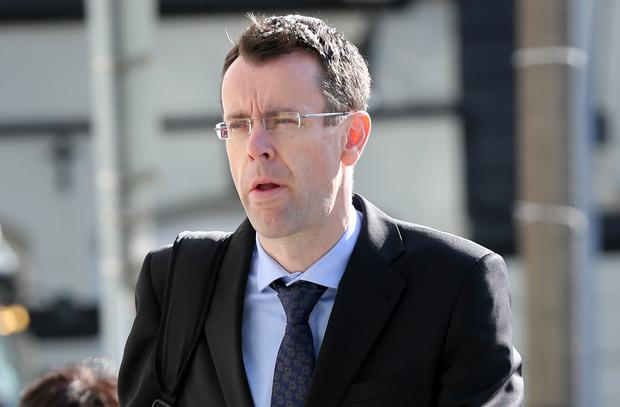Former head of group finance at Anglo Irish Bank, Colin Golden, arrives at the Dublin Circuit Criminal Court this morning where he gave evidence in the trial of former CEO of the bank, David Drumm, who is charged with conspiracy to defraud. Pic Collins Courts.