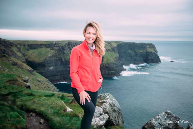 Aoibhin Garrihy at the Cliffs of Moher, Co Clare. Photo: Eamon Ward