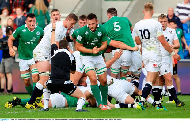 Adam McBurney of Ireland scores a try during the World Rugby U-20 Championships Final match between Ireland and England at AJ Bell Stadium in Salford, England. Photo by Matt McNulty/Sportsfile