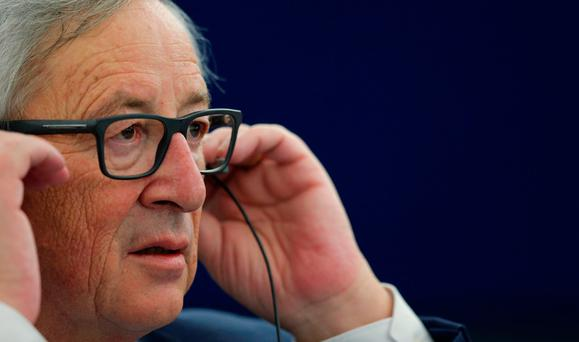 Jean-Claude Juncker listens intently during the Brexit debate in the European Parliament