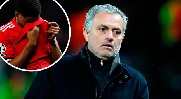 Jose Mourinho and (inset) Marcus Rashford after defeat