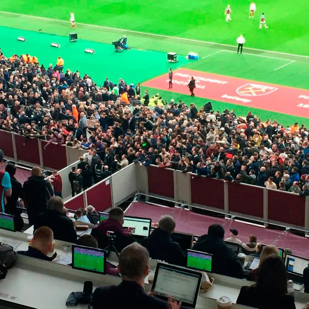 Fans gather to vent their frustrations against the West Ham United owners. Photo credit: Andy Sims/PA Wire.