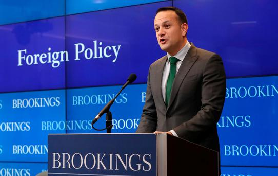 Taoiseach Leo Varadkar presents President Trump with shamrock bowl at White House