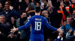 Chelsea's Olivier Giroud celebrates scoring their fourth goal against Hull in the FA Cup. Photo: Action Images via Reuters/Paul Childs