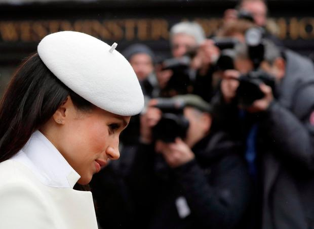 Meghan Markle leaves after attending the Commonwealth Service at Westminster Abbey in London, Britain March 12, 2018. REUTERS/Kirsty Wigglesworth/Pool