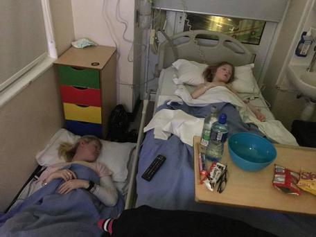 Ruby and her mother in Our Lady's Children's Hospital last night