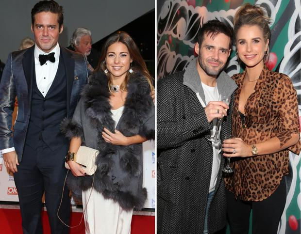 Spencer Matthews with ex-girlfriend Louise Thompson, left, and Spencer with fiancée Vogue Williams