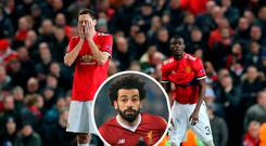 Manchester United's Nemanja Matic and Eric Bailly after defeat and (inset) Mo Salah