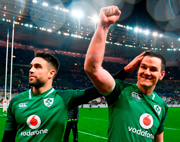 Conor Murray congratulates Johnny Sexton after the victory against France which sparked Ireland's Grand Slam ambitions. Photo: Ramsey Cardy/Sportsfile