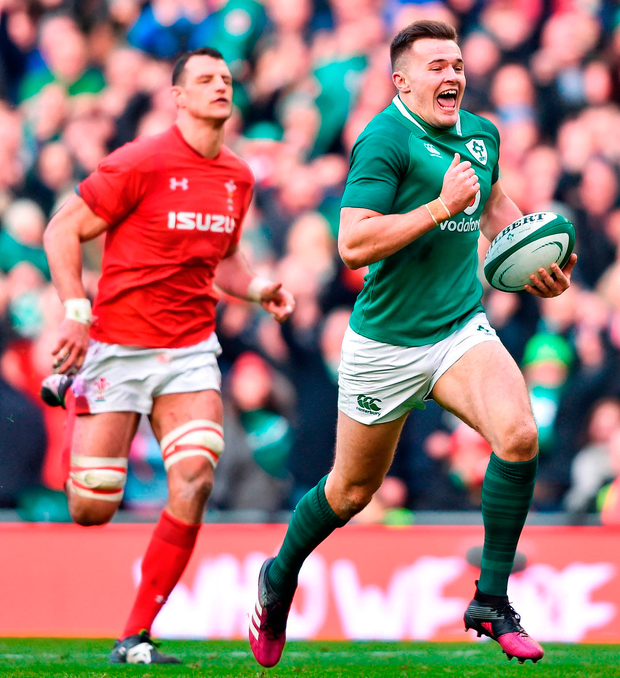 Of his intercept try against Wales, Jacob Stockdale says: 'It's more afterwards you realise that it could have gone very wrong'. Photo: David Fitzgerald/Sportsfile