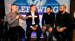 Left Wing Podcast host Will Slattery, pictured with Luke Fitzgerald, Robbie Henshaw and Scott Fardy during the Left Wing Podcast at Kennedy's pub on Westland Row. Picture Credit: Frank McGrath