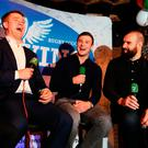 Luke Fitzgerald, Robbie Henshaw and Scott Fardy during the Left Wing podcast at Kennedy's pub on Westland Row last night. Photo: Frank McGrath