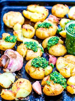 Smashed potatoes with cashew coriander