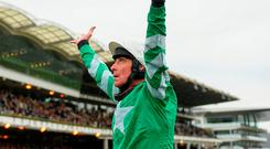 Davy Russell looks to the heavens after victory on Presenting Percy at Cheltenham last year. Photo: Ramsey Cardy/Sportsfile
