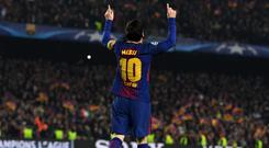 BARCELONA, SPAIN - MARCH 14: Lionel Messi of Barcelona celebrates as he scores their third goal during the UEFA Champions League Round of 16 Second Leg match FC Barcelona and Chelsea FC at Camp Nou on March 14, 2018 in Barcelona, Spain. (Photo by David Ramos/Getty Images)