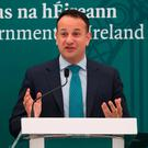 Taoiseach Leo Varadkar speaks at the global Irish lunch at the US Institute of Peace in Washington DC yesterday. Photo: Niall Carson