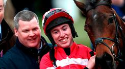 Gordon Elliott with Jack Kennedy after winning the Juvenile Handicap Hurdle on Veneer of Charm at Cheltenham yesterday. Photo: Tim Goode/PA Wire
