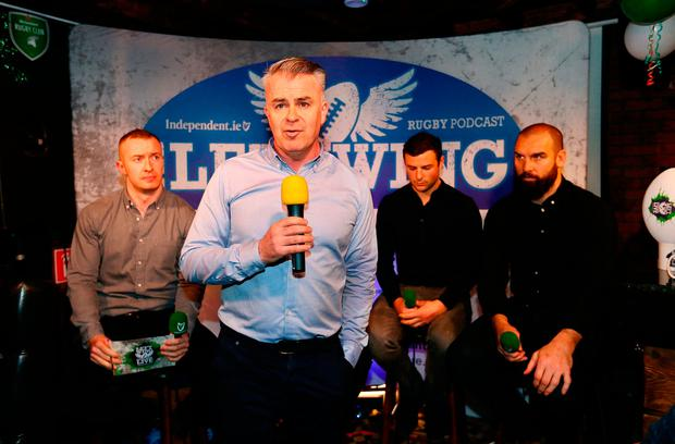 WING WONDERS: David Courtney, INM Head of Sport, at last night's Left Wing podcast with Will Slattery, Robbie Henshaw and Scott Fardy at Kennedy's on Westland Row Pic: Frank McGrath
